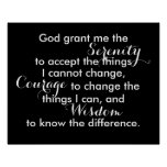 Serenity prayer poster bold black and white quote
