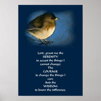 SERENITY PRAYER POSTER WITH BIRD
