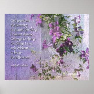 Serenity Prayer Purple Flowers Poster