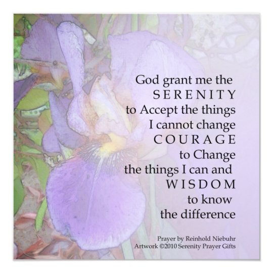 Serenity Prayer Purple Iris Invitation