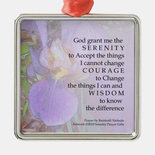Serenity Prayer Purple Iris Ornament