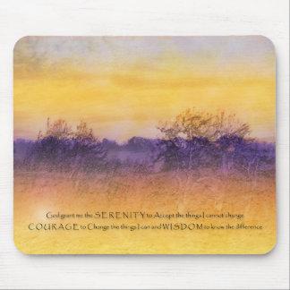 Serenity Prayer Purple Orange Field Mouse Pads