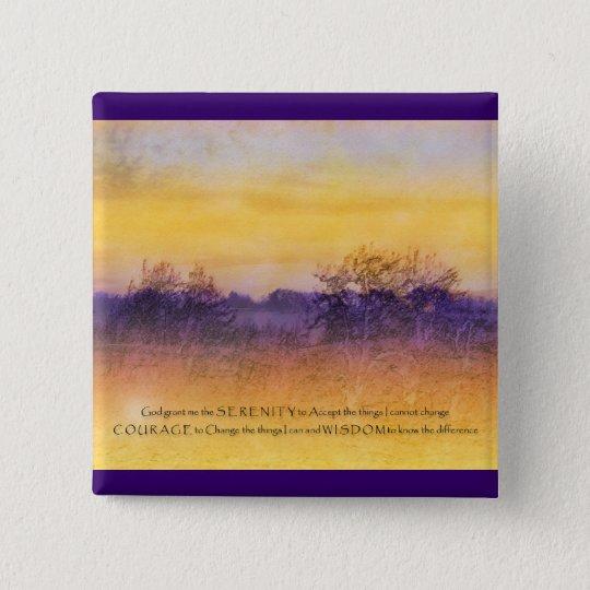 Serenity Prayer Purple Orange Field Pinback Button