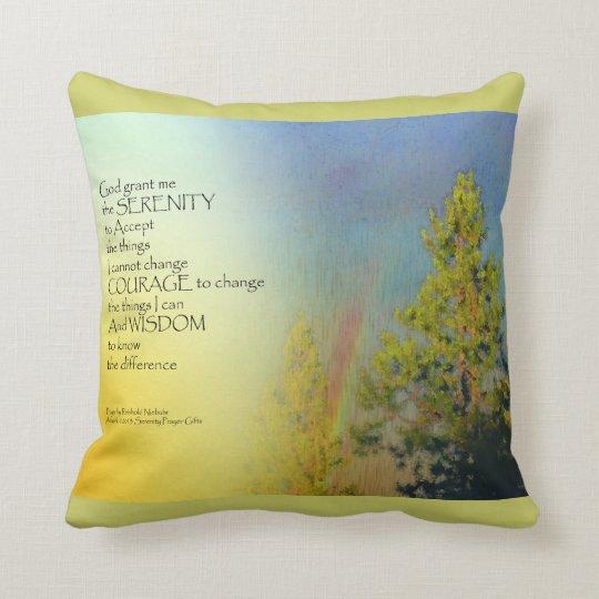 Serenity Prayer Rainbow Pines Throw Pillow