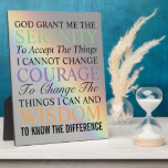 """Serenity Prayer Rainbow Plaque<br><div class=""""desc"""">An 8 x 10 inch,  glossy hardboard plaque with hinge that features the inspirational Serenity Prayer superimposed upon a rainbow image. Makes a thoughtful gift for family and friends! Also available in 5 x 7 inch size in the store.</div>"""