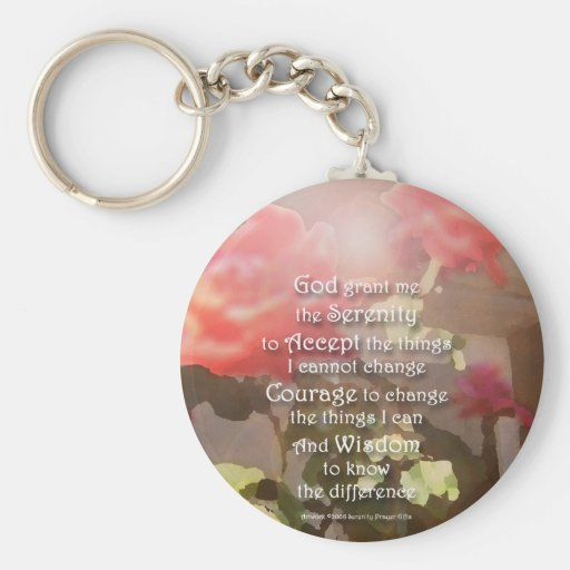 Serenity Prayer Recovery Roses Keychain