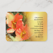 Serenity Prayer  Red-Orange Tulips on Yellow Business Card