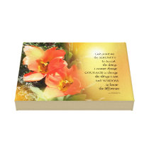 Serenity Prayer Red-Orange Tulips on Yellow Canvas Print