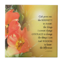 Serenity Prayer Red-Orange Tulips on Yellow Ceramic Tile