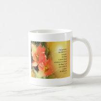 Serenity Prayer Red-Orange Tulips on Yellow Coffee Mug