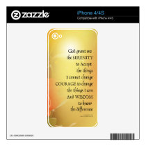 Serenity Prayer Red-Orange Tulips on Yellow Decal For iPhone 4