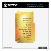 Serenity Prayer Red-Orange Tulips on Yellow Decal For iPod Touch 4G