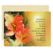 Serenity Prayer Red-Orange Tulips on Yellow Invitation