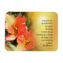 Serenity Prayer Red-Orange Tulips on Yellow Magnet
