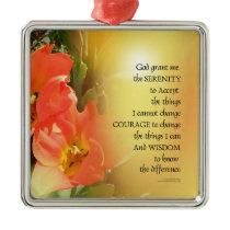 Serenity Prayer Red-Orange Tulips on Yellow Metal Ornament