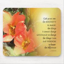 Serenity Prayer Red-Orange Tulips on Yellow Mouse Pad