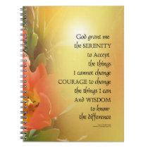 Serenity Prayer Red-Orange Tulips on Yellow Notebook