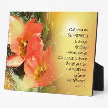 Serenity Prayer Red-Orange Tulips on Yellow Plaque