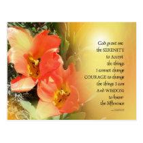 Serenity Prayer Red-Orange Tulips on Yellow Postcard