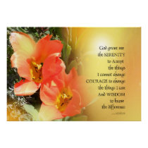Serenity Prayer Red-Orange Tulips on Yellow Poster