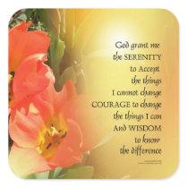 Serenity Prayer Red-Orange Tulips on Yellow Square Sticker