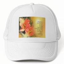 Serenity Prayer Red-Orange Tulips on Yellow Trucker Hat