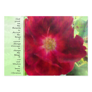 Serenity Prayer Red Rose on Green Business Card Templates
