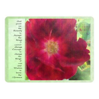 Serenity Prayer Red Rose on Green Card