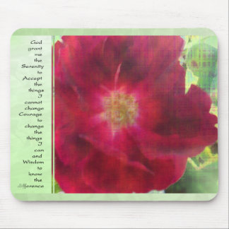 Serenity Prayer Red Rose on Green Mouse Pad