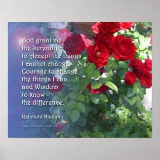 Serenity Prayer Red Roses Poster