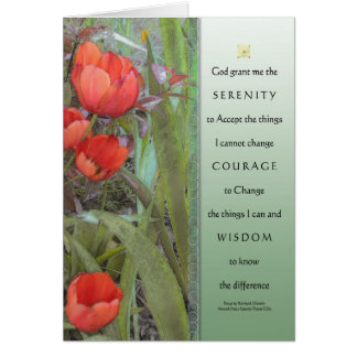 Serenity Prayer Red Tulips Card