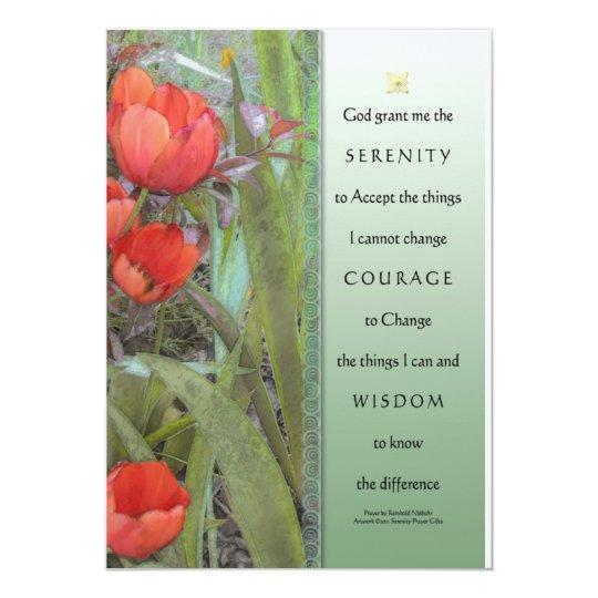 Serenity Prayer Red Tulips Invitation