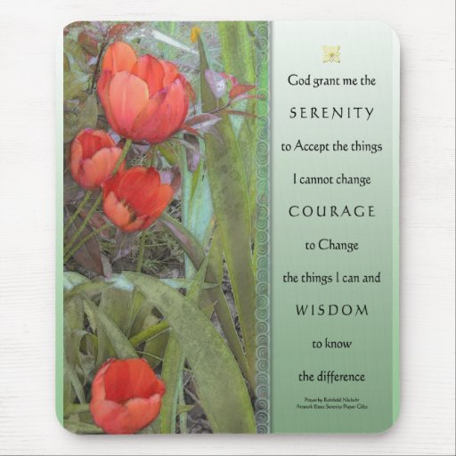 Serenity Prayer Red Tulips Mouse Pad