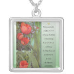 Serenity Prayer Red Tulips Square Pendant Necklace