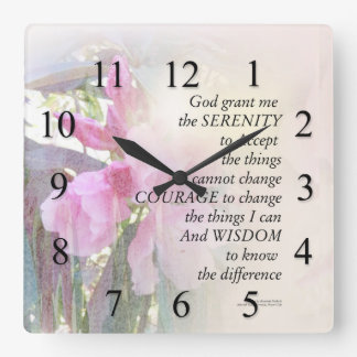 Serenity Prayer Rhodie Glow Square Wall Clock