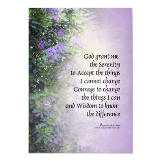Serenity Prayer Rhododendrons and Creek 5x7 Paper Invitation Card