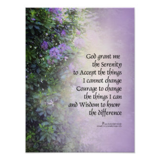 Serenity Prayer Rhododendrons and Creek Poster