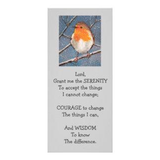 SERENITY PRAYER: ROBIN: SNOW: BIRD ART RACK CARD