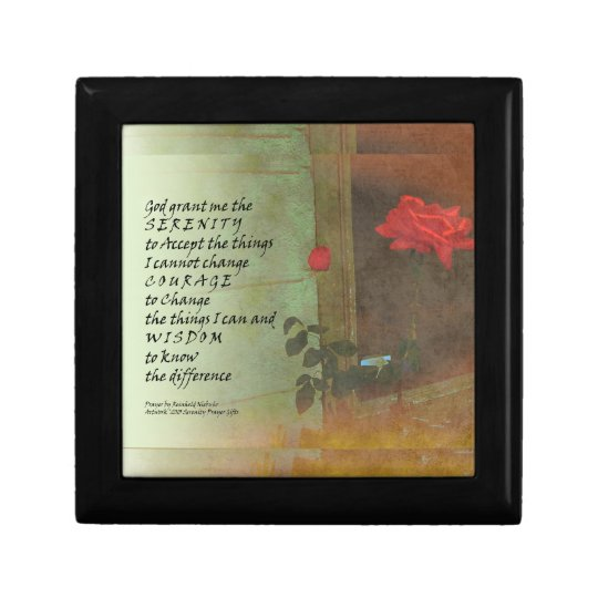 Serenity Prayer Rose and Door Keepsake Box