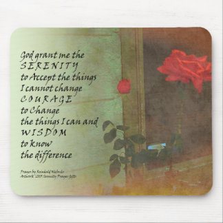 Serenity Prayer Rose and Door Mouse Pad