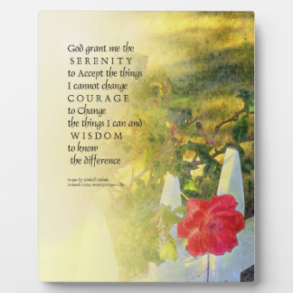 Serenity Prayer Rose and Fence Plaque
