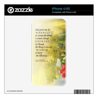 Serenity Prayer Rose and Fence Skin For iPhone 4