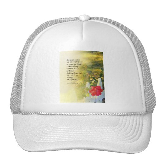 Serenity Prayer Rose and Fence Trucker Hat