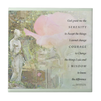 Serenity Prayer Rose and Garden Statue Ceramic Tile