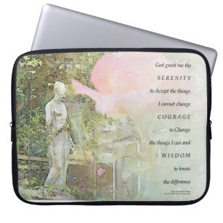 Serenity Prayer Rose and Garden Statue Computer Sleeves