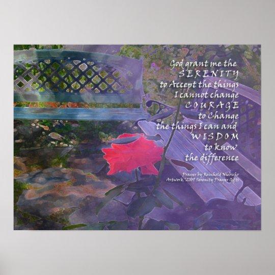 Serenity Prayer Rose & Bench Poster