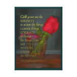 Serenity Prayer Rose in Glass Canvas Print
