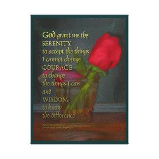 Serenity Prayer Rose in Glass Canvas Print