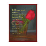 Serenity Prayer Rose in Glass Canvas Prints