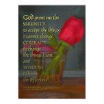 Serenity Prayer Rose in Glass Card